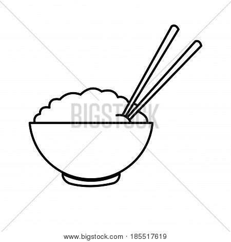 bowl of rice and chopsticks cooked dinner asian line vector illustration