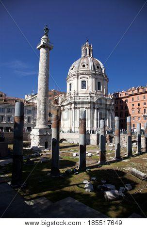 imperial Forum Traian Column Santa Maria di Loreto Church and Chiessa del santissimo nome di Maria