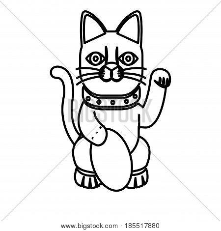 maneki-neko cat sitting lucky japanese culture line vector illustration