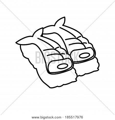 japanese fish fresh nigiri sushi rice menu line vector illustration