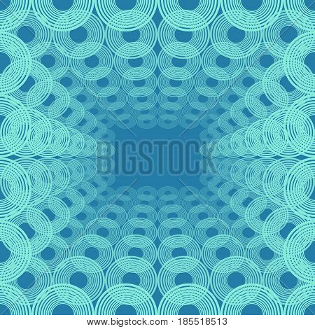 Spatial pattern of concentric circles, blue decorative background tile in op-art style, vector EPS 10