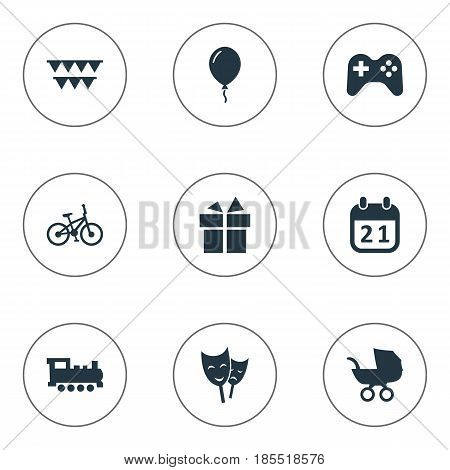 Vector Illustration Set Of Simple Holiday Icons. Elements Aerostat, Baby Carriage, Train And Other Synonyms Balloon, Mask And Carriage.