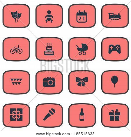 Vector Illustration Set Of Simple Holiday Icons. Elements Camera, Aerostat, Baby Carriage And Other Synonyms Jingle, Infant And Mask.