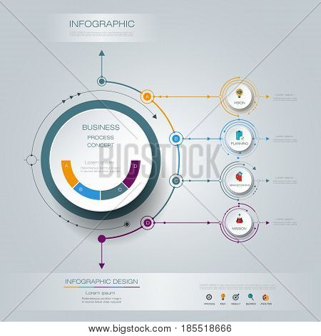 Vector Infographic 3D circle label design with arrows sign and 4 options or steps. Can be used for business, infograph, template, process, infographics diagram, chart, flowchart, processes diagram, time line