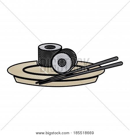 drawing japanese sushi food dish stick culture vector illustration