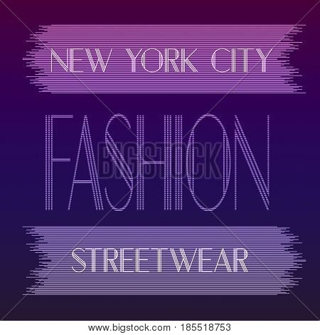 New York city Fashion. Street graphic style NYC. Art stylish print. Template apparel, card, label, poster. emblem, t-shirt stamp graphics. Handwritten banner, logo or label. Colorful hand drawn phrase