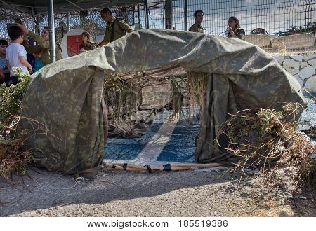 Military Camouflaged Tent Presented At Latrun Armored Corps Museum
