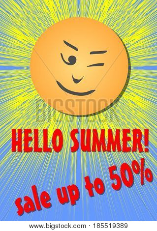 Hello summer, sale or discount flyer, cheerful sun with emotikon face, vector EPS 10