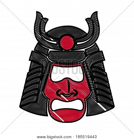 drawing samurai face mask japanese warrior image vector illustration