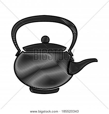 drawing teapot ceramic japanese culture traditional vector illustration