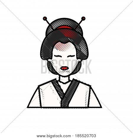 drawing character japanese girl geisha traditional costumen vector illustration