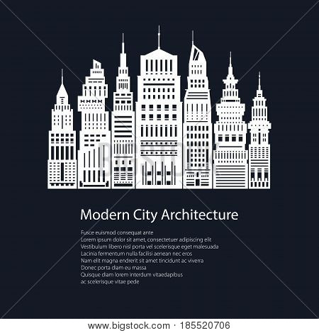White Silhouette Modern Big City on Black Background and Text Poster Architecture Megapolis with Buildings and Skyscraper City Financial Center Flyer Brochure Design Vector Illustration