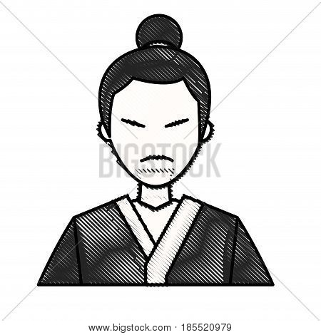 drawing character japanese man clothes culture vector illustration