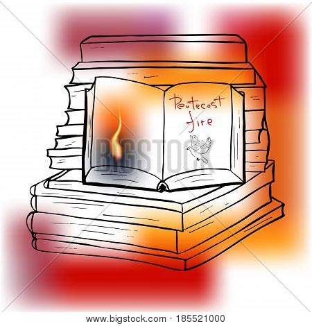 Pentecost fire. Trinity holiday. Descended fire as a symbol of the holy spirit. Vector design