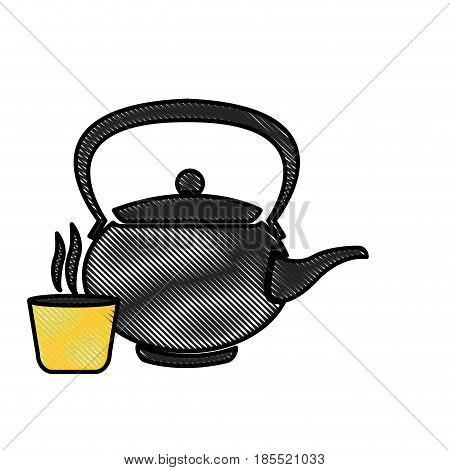drawing japanese teapot teacup drink oriental image vector illustration
