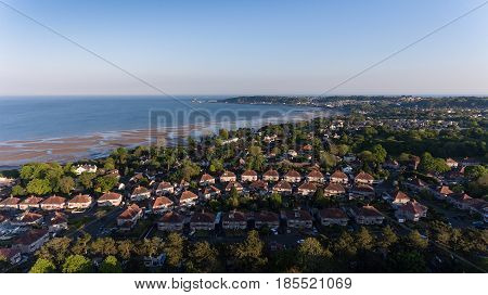 Editorial SWANSEA, UK - MAY 07, 2017: Drone view of Swansea West and the Bay area towards the Mumbles looking from Clyne Park.