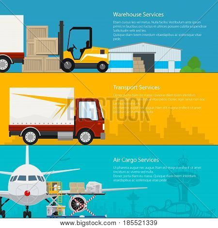 Set of Horizontal Cargo Delivery Banners Transportation and Air Cargo Services and Storage Warehouse Air and Land Freight Vector Illustration