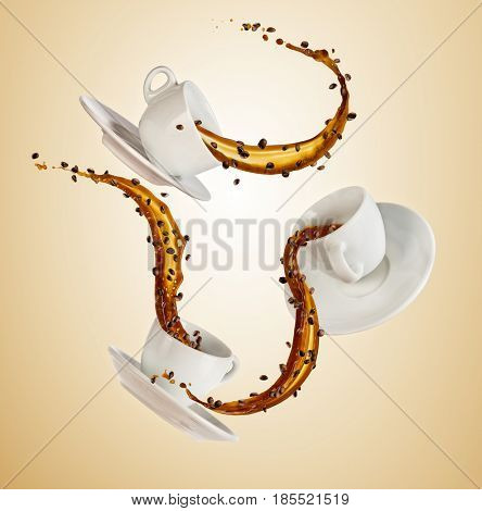 Porcelain white cups with splashing coffee liquid isolated on brown background. Hot drinks concept with splashes, beverages and refreshment.