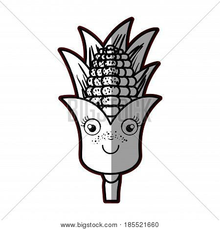 black silhouette of corn cob caricature with leaves and half shadow vector illustration