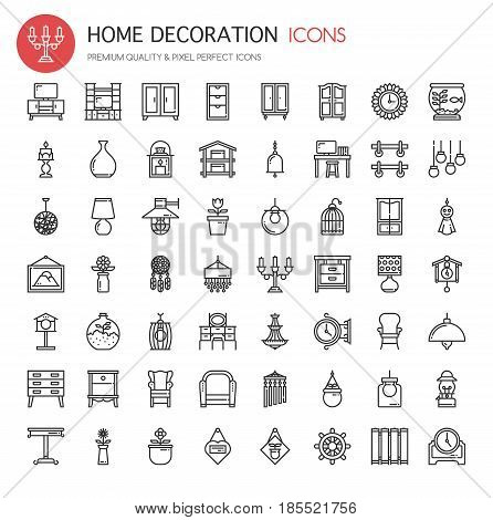 Home Decoration ,Thin Line and Pixel Perfect Icons