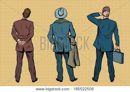 Three retro businessman standing back. Viewers and audience. A set of human shapes silhouettes. Pop art retro vector illustration