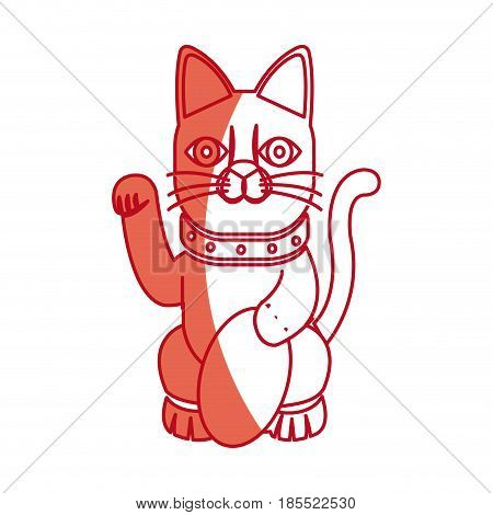 cat maneki neko fortune money tradition japan vector illustration