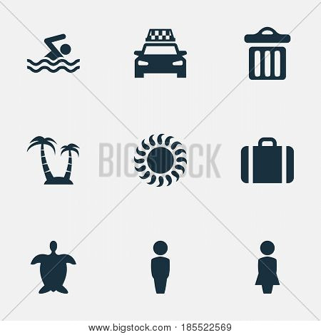 Vector Illustration Set Of Simple Seaside Icons. Elements Garbage, Tortoise, Swimming Man And Other Synonyms Sunshine, Turtle And Garbage.