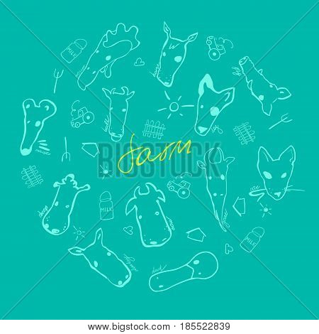 Vector set of farm animals made in cartoon style. Bull cow mouse pig sheep horse goat duck donkey swine and other mammals. Each animal isolated and easy to use.