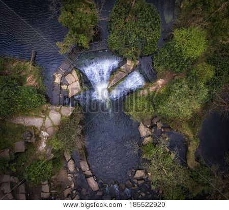Aerial view of the waterfalls at Penllergare woods, Swansea, UK