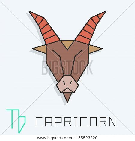 Capricorn zodiac sign, horoscope symbol, vector illustration