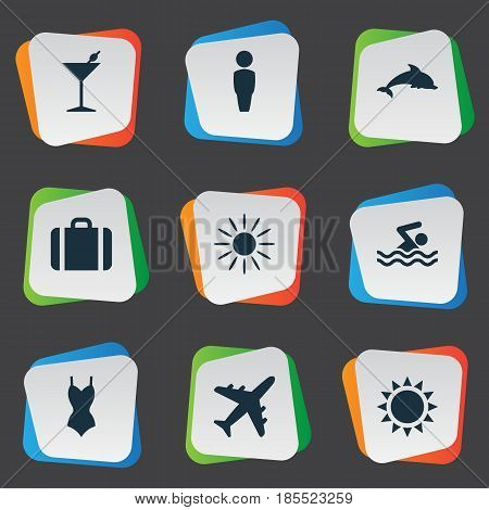 Vector Illustration Set Of Simple Seaside Icons. Elements Hot, Swimming Man, Suitcase And Other Synonyms Pool, Summer And Mammalian.