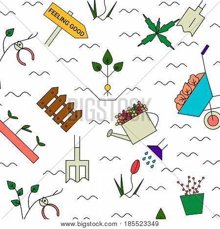Gardening elements vector pattern. I love gardening background. Colorful spring blooming garden.