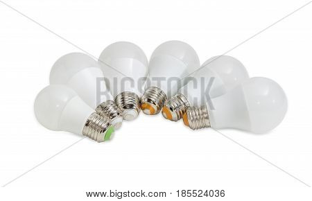 Several different domestic light emitting diode lamp with a sized E27 male screw base on a light background