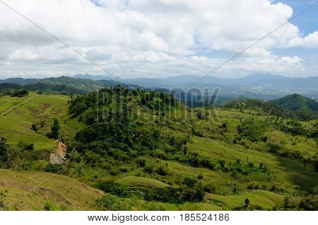 Typical hills landscape on an island Timor in Indonesia