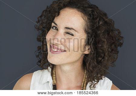 Caucasian Woman Winking Smiling