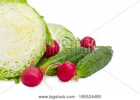 Fragment of the head of the young fresh white cabbage cut in half against of second half of cabbage two fresh cucumbers and and several red radish on a light background