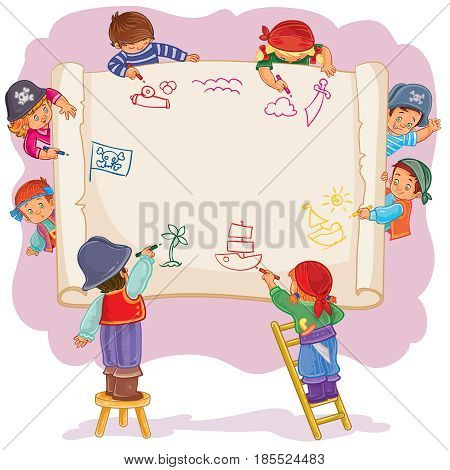 illustration of happy children draw on a large sheet of paper, side view