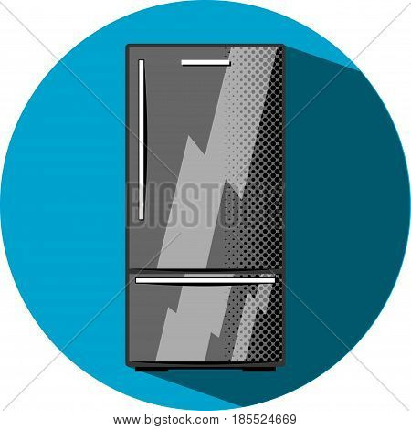 Black refrigerator with freezer. Kitchen appliance flat style vector illustration. Black elegant fridge with freezer. Smart fridge electric equipment. Modern home appliance. White goods shopping icon