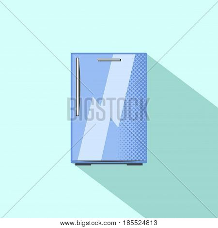 Small refrigerator. Built-in kitchen appliance flat style vector illustration. Pink fridge with two doors and freezer. Smart fridge electric equipment. Modern home appliance. Food storage icon