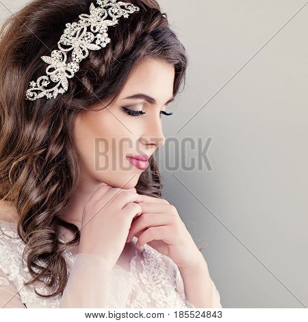 Beautiful Young Bride. Stylish Woman Fiancee with Bridal Hairstyle Event Makeup and Jewelry