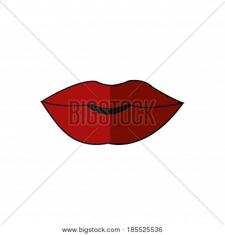 mouth lips woman sensual cartoon vector illustration