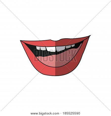 mouth lips woman sensual open cartoon vector illustration