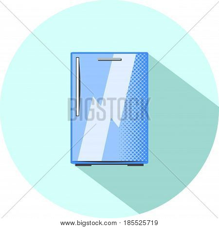 Half-size refrigerator. Built-in kitchen appliance flat style vector illustration. Pink fridge with two doors and freezer. Smart fridge electric equipment. Modern home appliance. Food storage icon