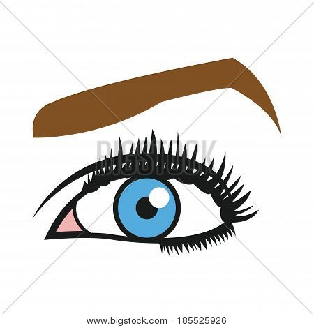 female blue eyes mascara eyebrows eyelashes style vector illustration