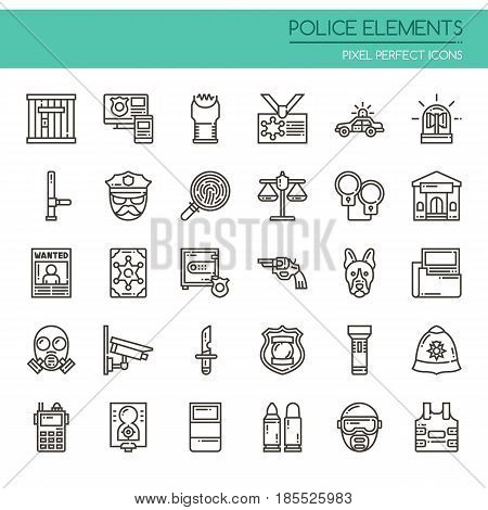 Police Elements ,Thin Line and Pixel Perfect Icons