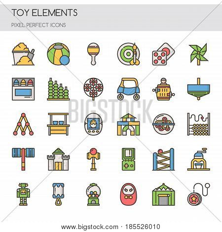 Toy Elements ,Thin Line and Pixel Perfect Icons