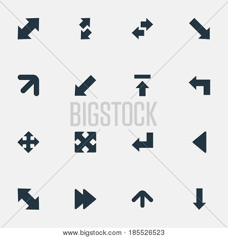 Vector Illustration Set Of Simple Arrows Icons. Elements Straight-Back, Transfer, Left Landmark Synonyms Raising, Right And Pointing.
