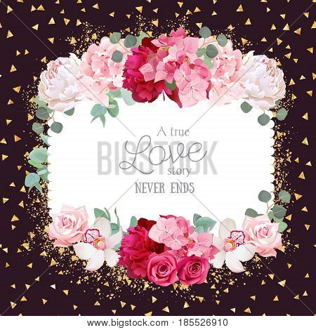 Floral vector design square card with golden glitter dark background. White and burgundy red peony, pink roses and hydrangea flowers, orchid, eucalyptus leaves. All elements are isolated and editable.