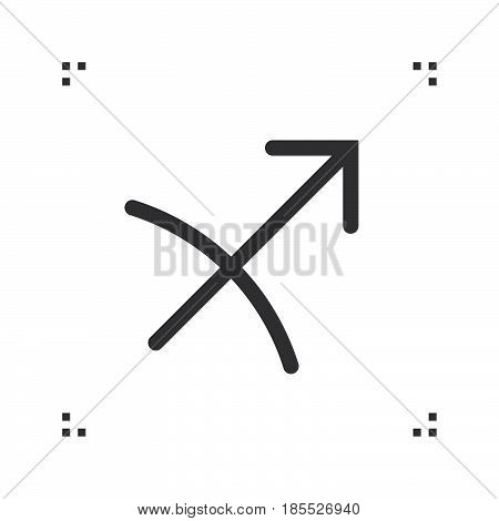 Sagittarius Zodiac Vector Sign, Horoscope Symbol, Astrology Line Icon, Linear Logo Illustration Isol