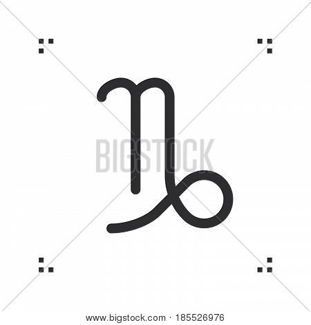 Capricorn Zodiac Vector Sign, Horoscope Symbol, Astrology Line Icon, Linear Logo Illustration Isolat